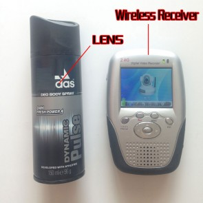 2.4GHz Wireless Spy Camera Body Spray Bottle with Portable Receiver-100mw High Power Transmitter