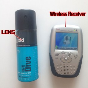 Wireless Camera for Bathroom Body Spray Bottle Spy Camera-2.4GHz with Portable Receiver-100mw High Power Transmitter