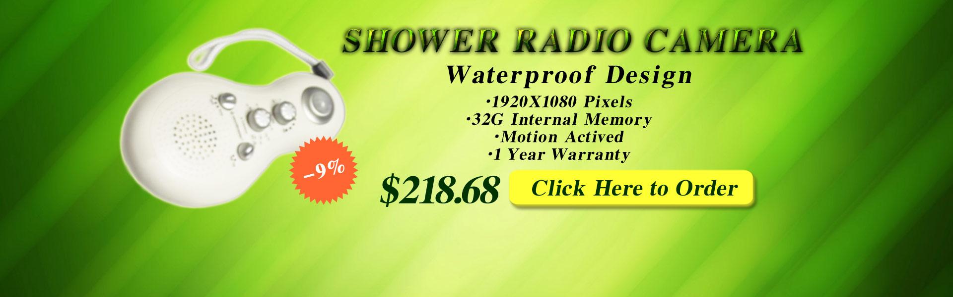 Shower Spy Radio Hidden 1080P Motion Activated Bathroom Spy Camera DVR 32GB